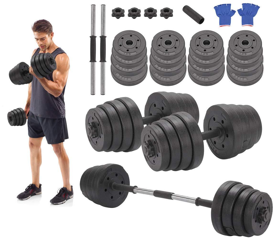 30 kg - Juego de mancuernas, Negro cobertura de plástico, negro, Pack de 2: Amazon.es: Deportes y aire libre