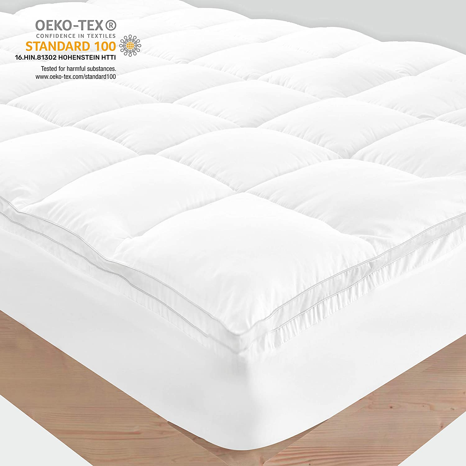 Sleep Mantra King Mattress Topper Pillow Top - White 100% Cotton Plush 2 Inch Mattress-Pad with Cooling Down Alternative Fill, 18 Inch Fitted Skirt for Thick Firm Mattress