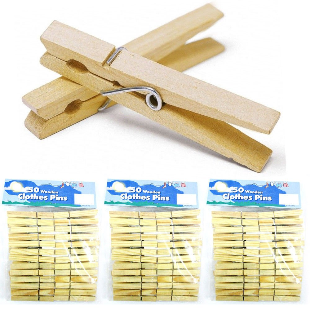Amaethon Clothes Pins Laundry Clips Wooden Pegs Clothespins Wood 2 3/4 Inch (150)