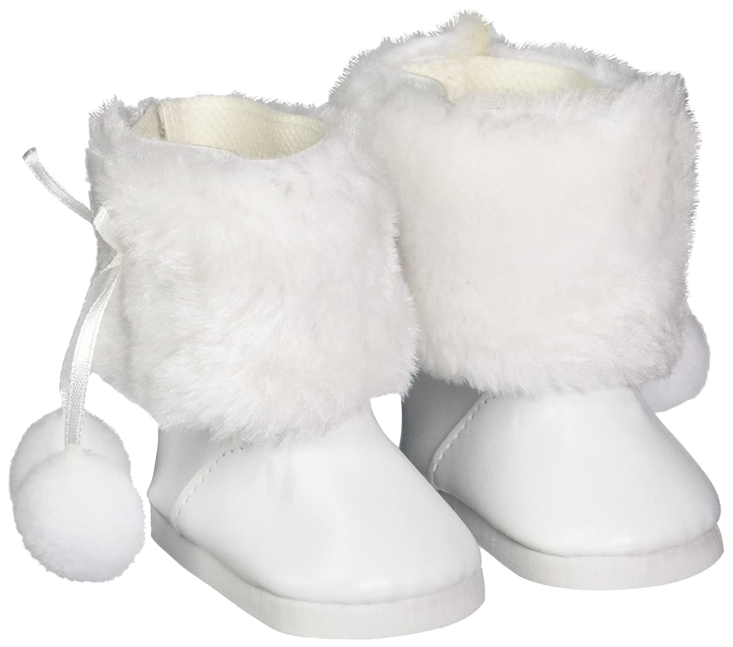 White Fur Boots with Pom Poms