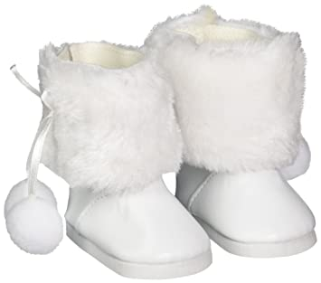 Amazon.com: Unique Doll Clothing White Fur Pom Pom Boots for ...