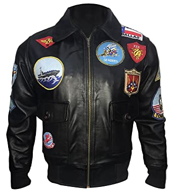 10140fe46 Tom Cruise Top Gun Black Bomber Biker Leather Jacket at Amazon Men's ...