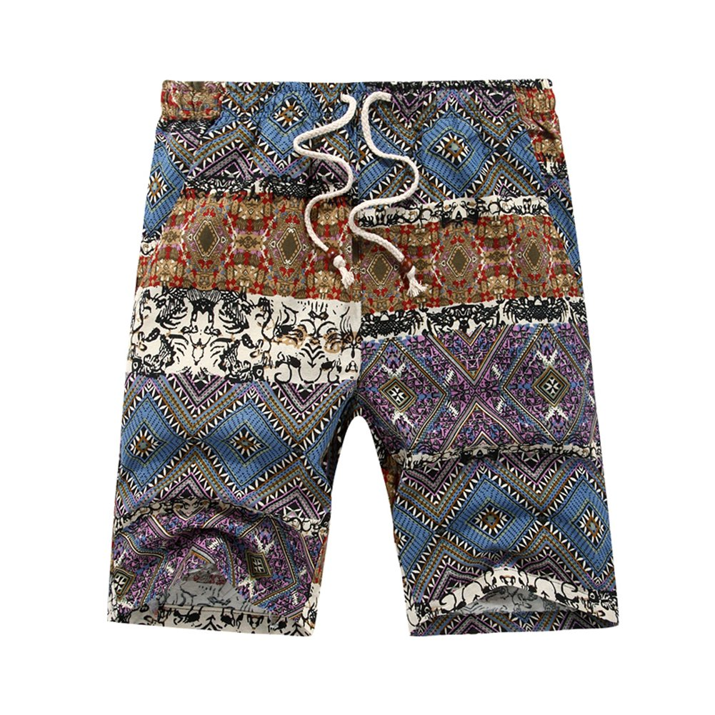 Heihuohua Men's Summer Casual Flax Beach Shorts Printed Swim Trunk With Pockets, Blue, US M(W34''-36'')/Tag Size 2XL