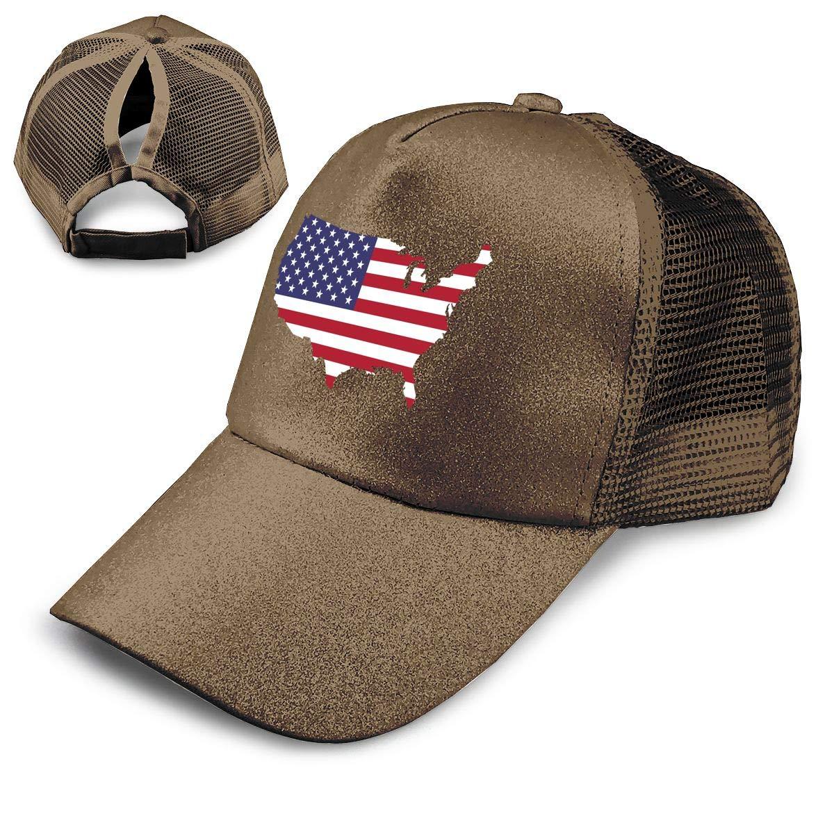 America Ponytail Messy High Bun Hat Ponycaps Baseball Cap Adjustable Trucker Cap Mesh Cap