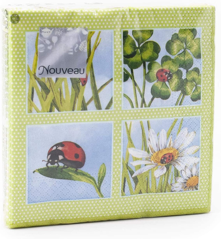 25 x 25 Nouveau Ladybird Green Paper Napkins Multi-Colour