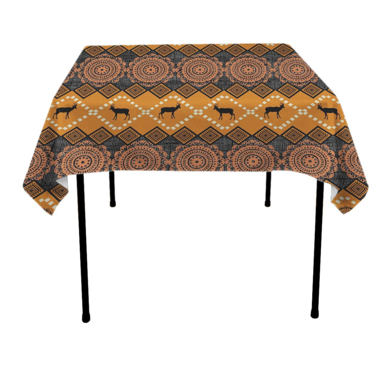 Jinkela Square Table Cloth (36 x 36 Inches), East African Patterns - Perfect for Spring, Summer, Holidays - Christmas and for Everyday Use