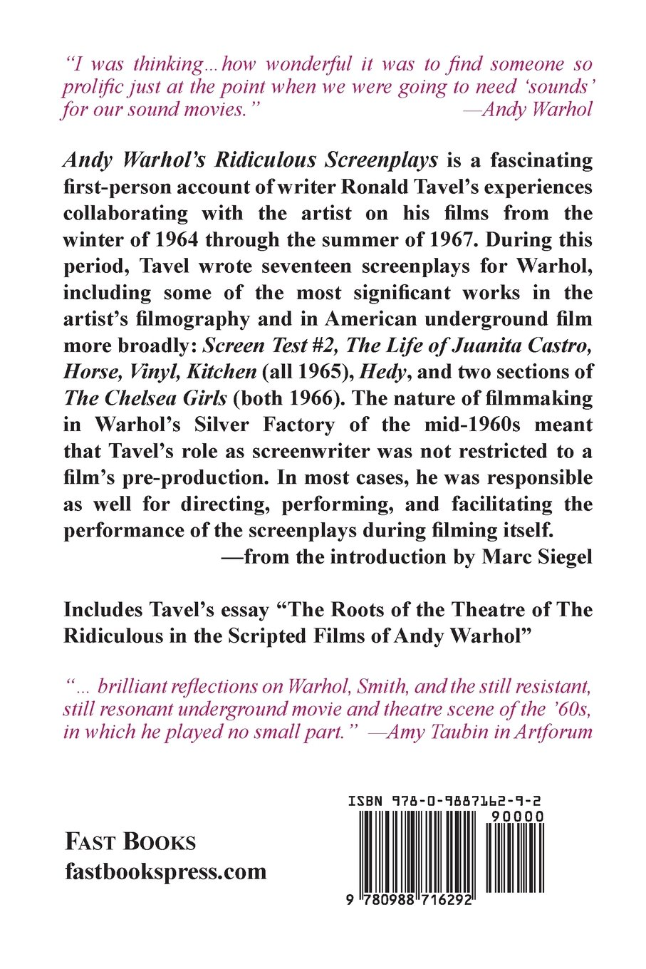 andy warhol s ridiculous screenplays ronald tavel  andy warhol s ridiculous screenplays ronald tavel 9780988716292 com books