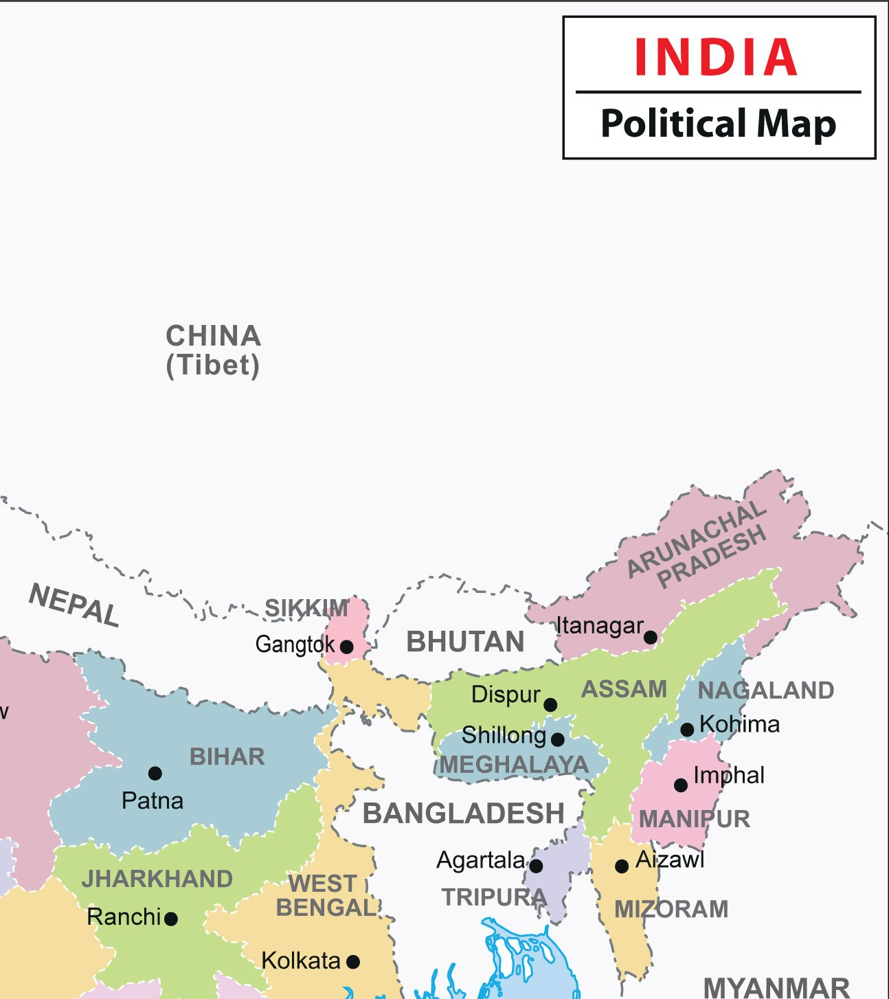 India Political Wall Map, 27 5x32 inches