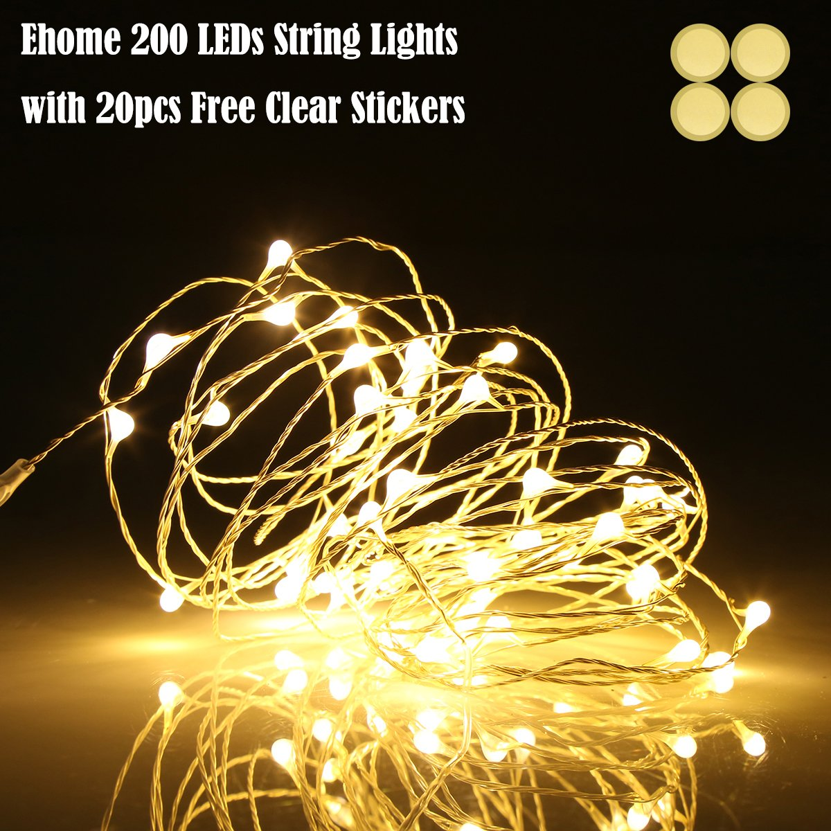 Ehome LED String Lights, Fairy Lights, Starry Lights 66ft 200 LEDs Silver Wire Lights, Waterproof Decorative Lights for Bedroom, Indoor Wedding Parties Christmas Lights with USB Interface(Warm white)