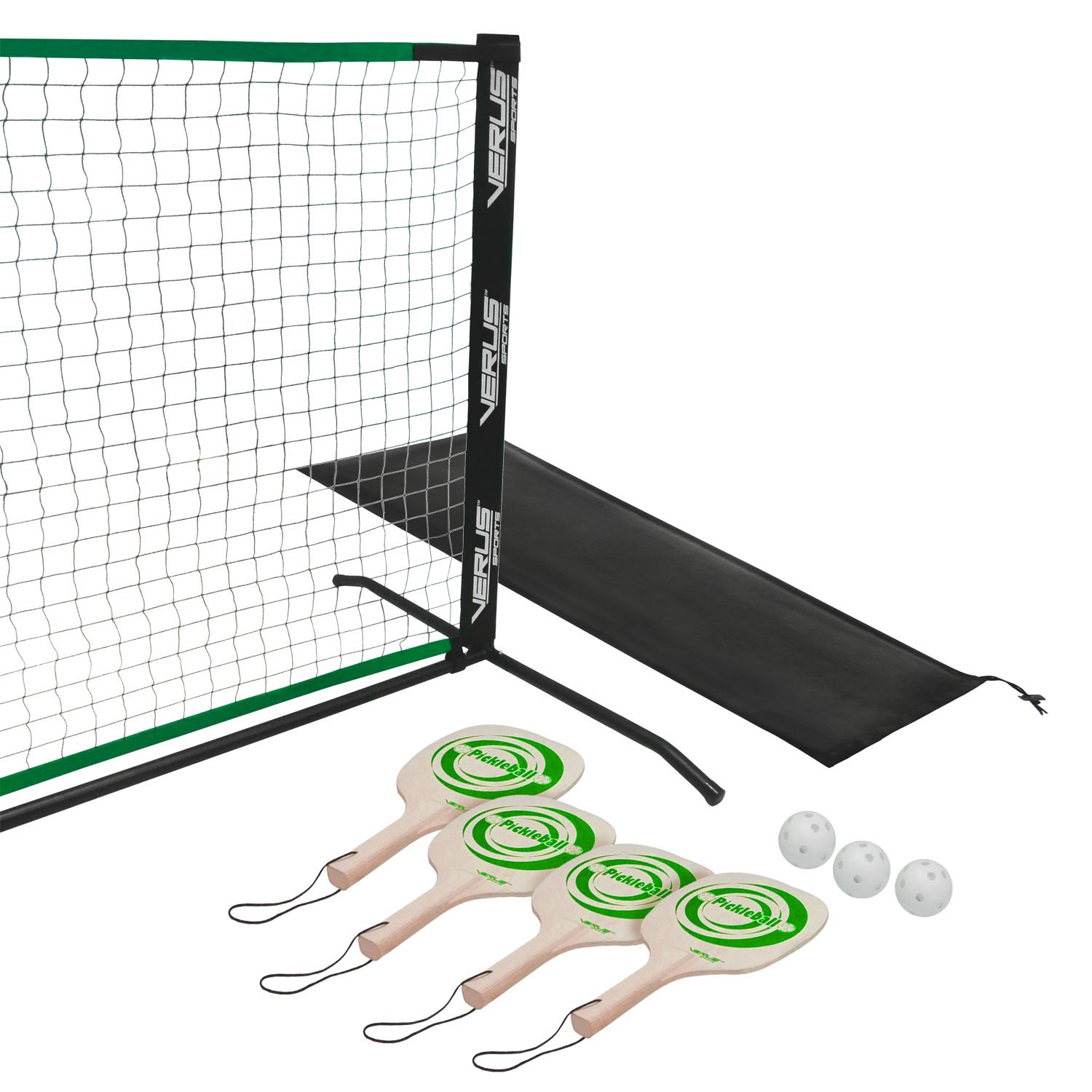 Verus Sports TG415 Deluxe Portable Pickleball Set (Includes 4 Pickleball Paddles, Balls and Net)