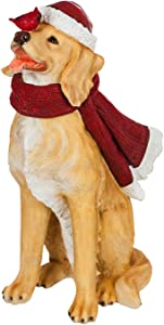Evergreen Garden Beautiful Decorative Seasonal Golden Retriever with Scarf and Cardinal Solar Lighted Garden Statue - 22 x 15 x 33 Inches Fade and Weather Resistant Indoor/Outdoor Decoration