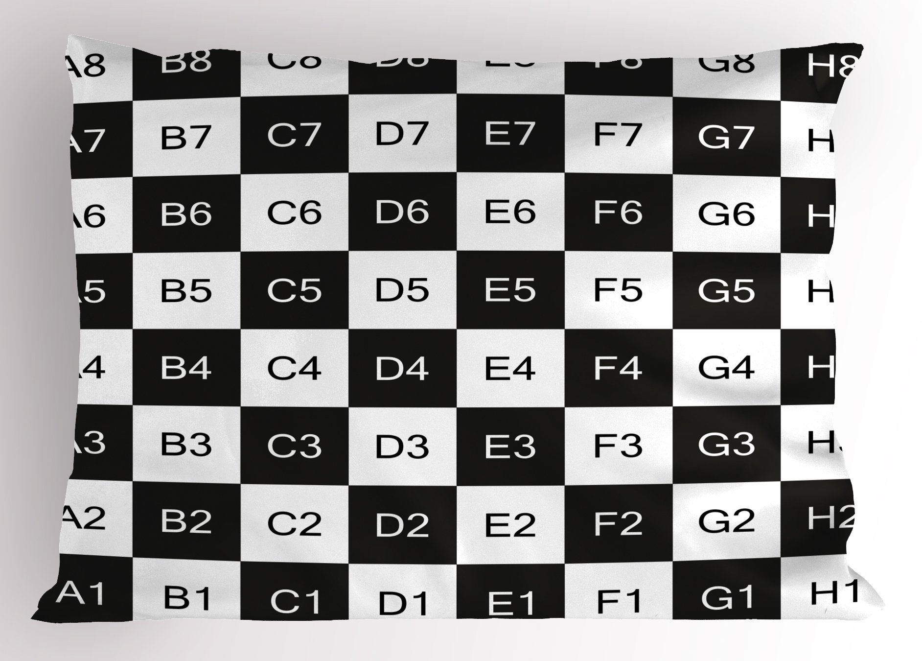 Ambesonne Checkers Game Pillow Sham, Monochrome Chess Board Design with Tile Coordinates Mosaic Square Pattern, Decorative Standard Queen Size Printed Pillowcase, 30 X 20 inches, Black White