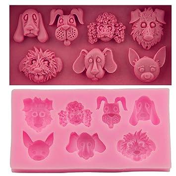 Bigsweety Dog Head Shape Silicone Fondant Mould Chocolate Candy Soap Molds  DIY Jelly Sugarcraft Cake Decorating Moulds Baking Tools