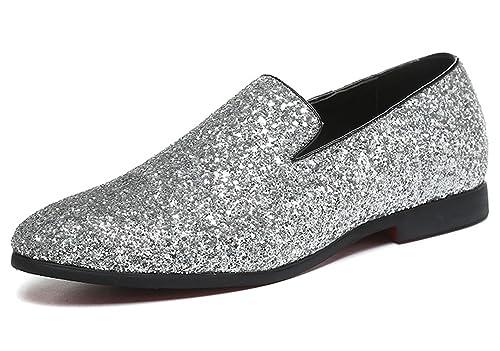 a63db51164301 SANTIMON Men Loafer Metallic Textured Slip-on Glitter Fashion Slipper  Moccasins Casual Dress Shoes Black Gold Silver