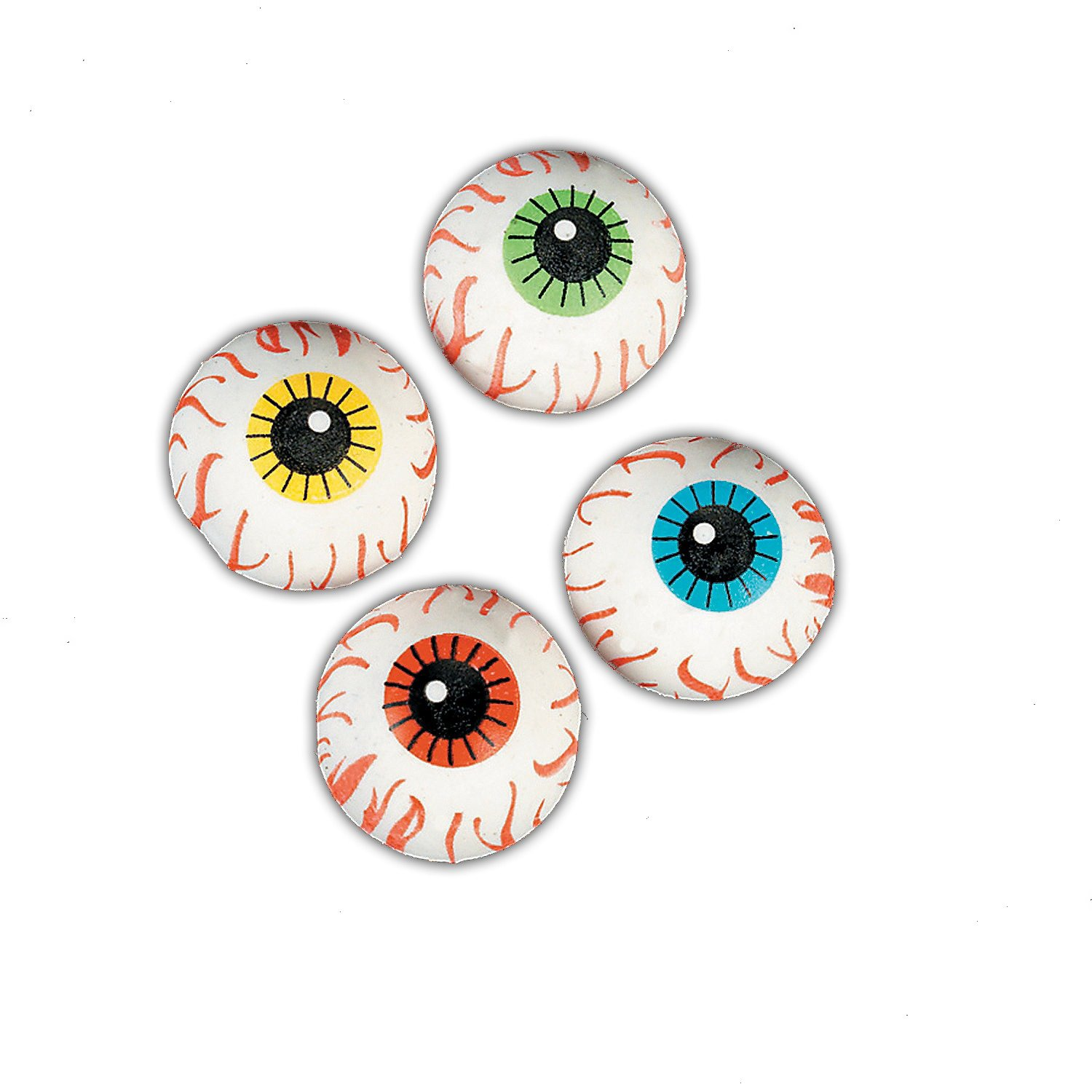 Children Age 3+ 2-Pack 48 Count | Great for Halloween-Themed Party Favors Fun Express Rubber Eyeball Erasers