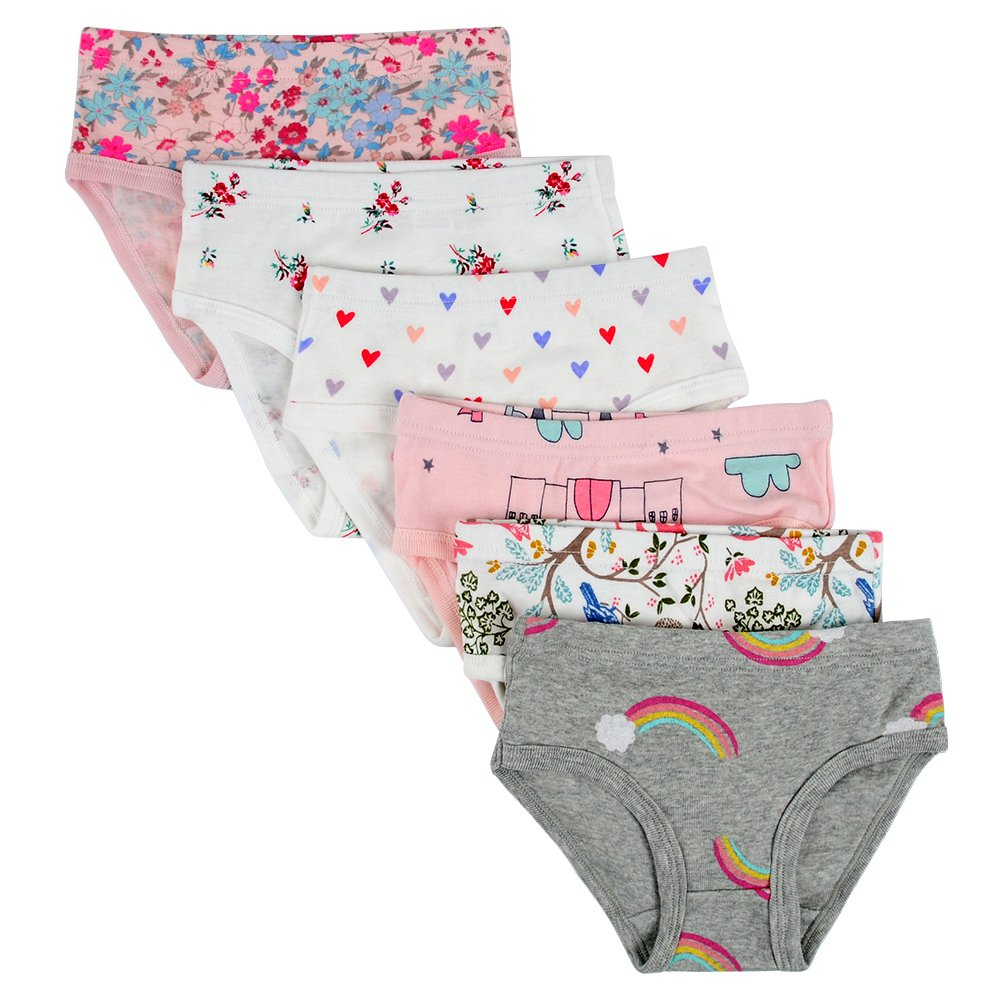 Closecret Kids Series Baby Soft Cotton Panties Little Girls' Assorted Briefs(Pack of 6) (6-7 Years, Style6)