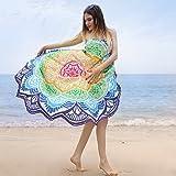 Telo Mare Rotondo Mandala Arazzo Spiaggia Coperta Stampa Tovaglia Beach Tappetino da Yoga(Viola1)