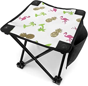 Small Folding Chairs Stool Golden Pineapple and Pink Flamingo Camping Hunting Chair Camp Outdoor Portable Lightweight Collapsible Stools Seat Ottoman for Adults Women Men Kids Ultralight