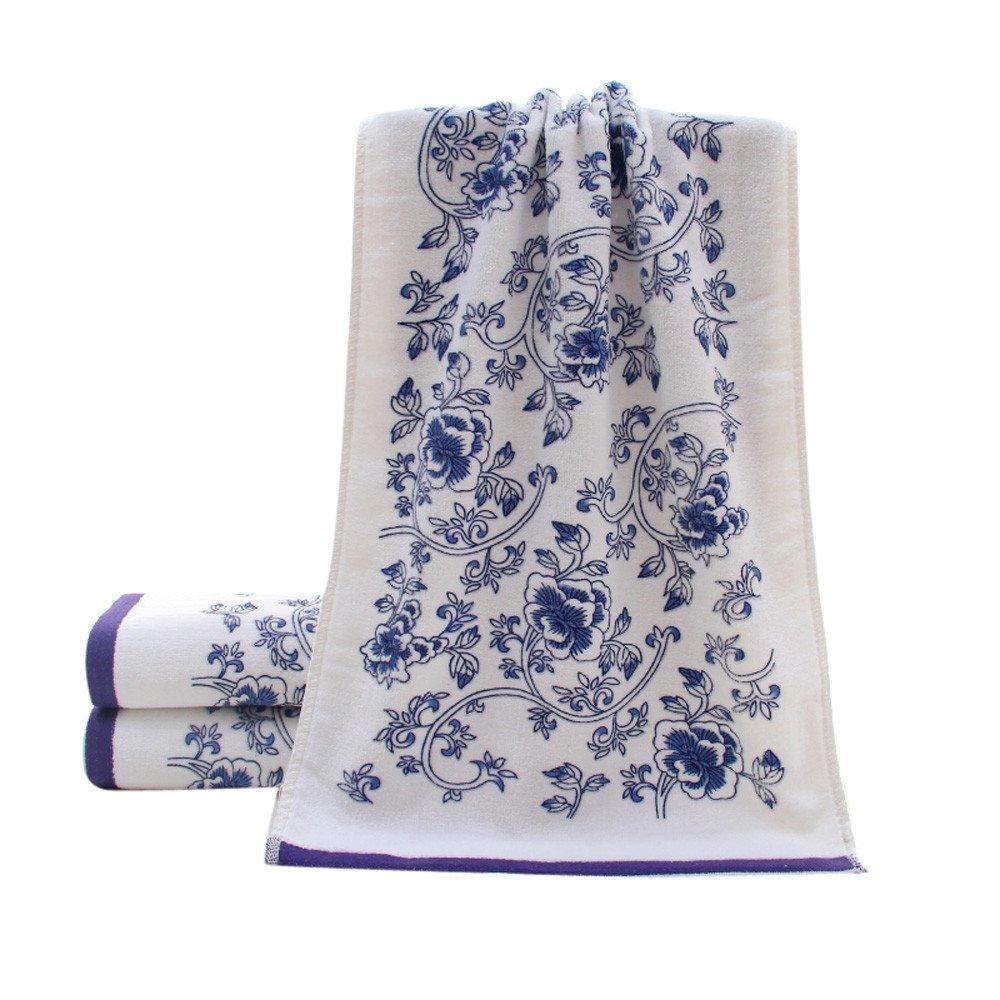 Ecosin 3474cm Soft Cotton Face Flower Towel Bamboo Fiber Quick Dry Towels Bath Shower Absorbent Superfine Fiber Soft Comfortable Comfy Absorbent (Blue)