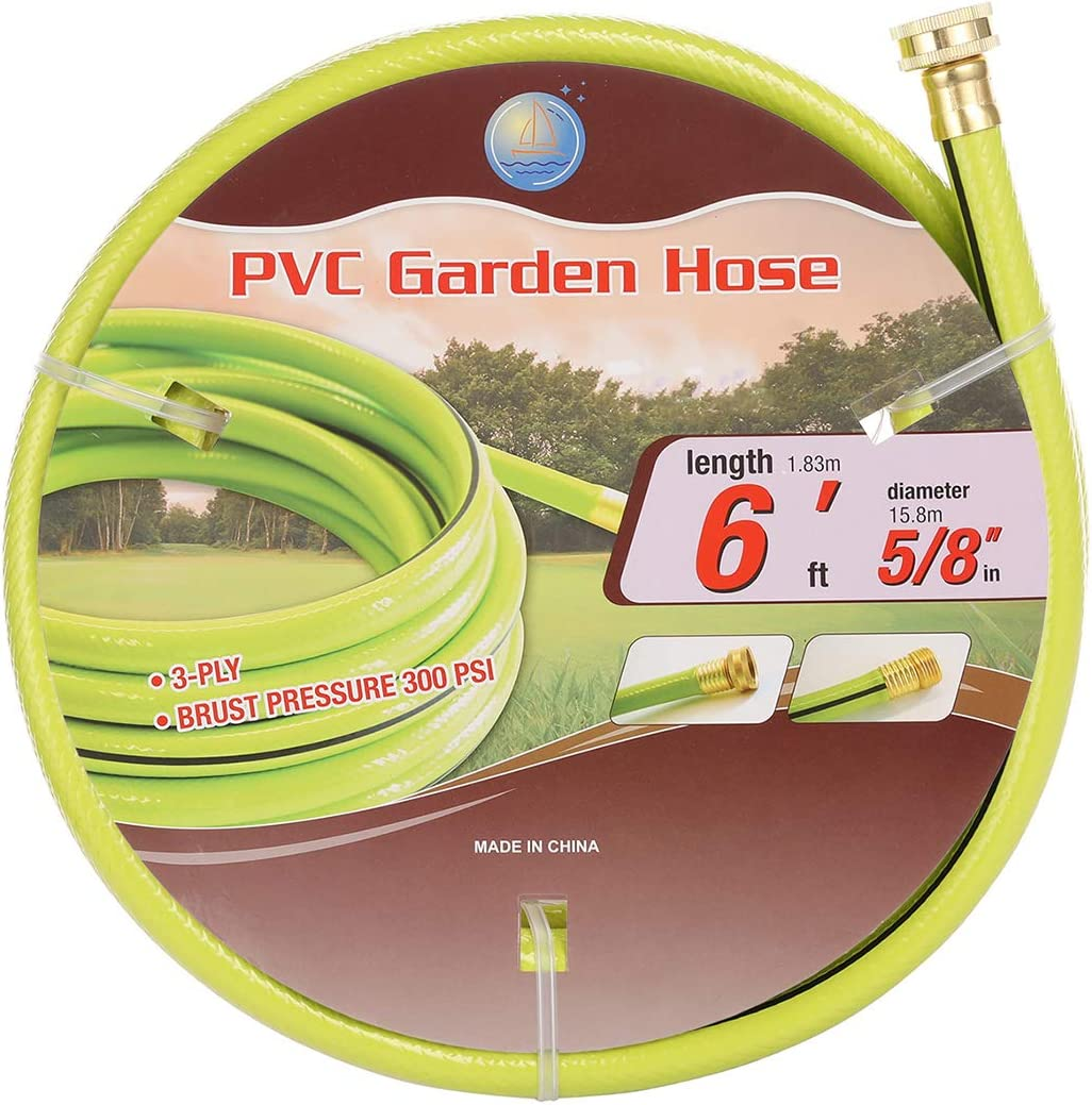 Cuckoo PVC Garden Hose No Kink 5/8 in. x 6 FT/15FT/50FT. Leader Hose, Heavy Duty.No Leaking(5/8