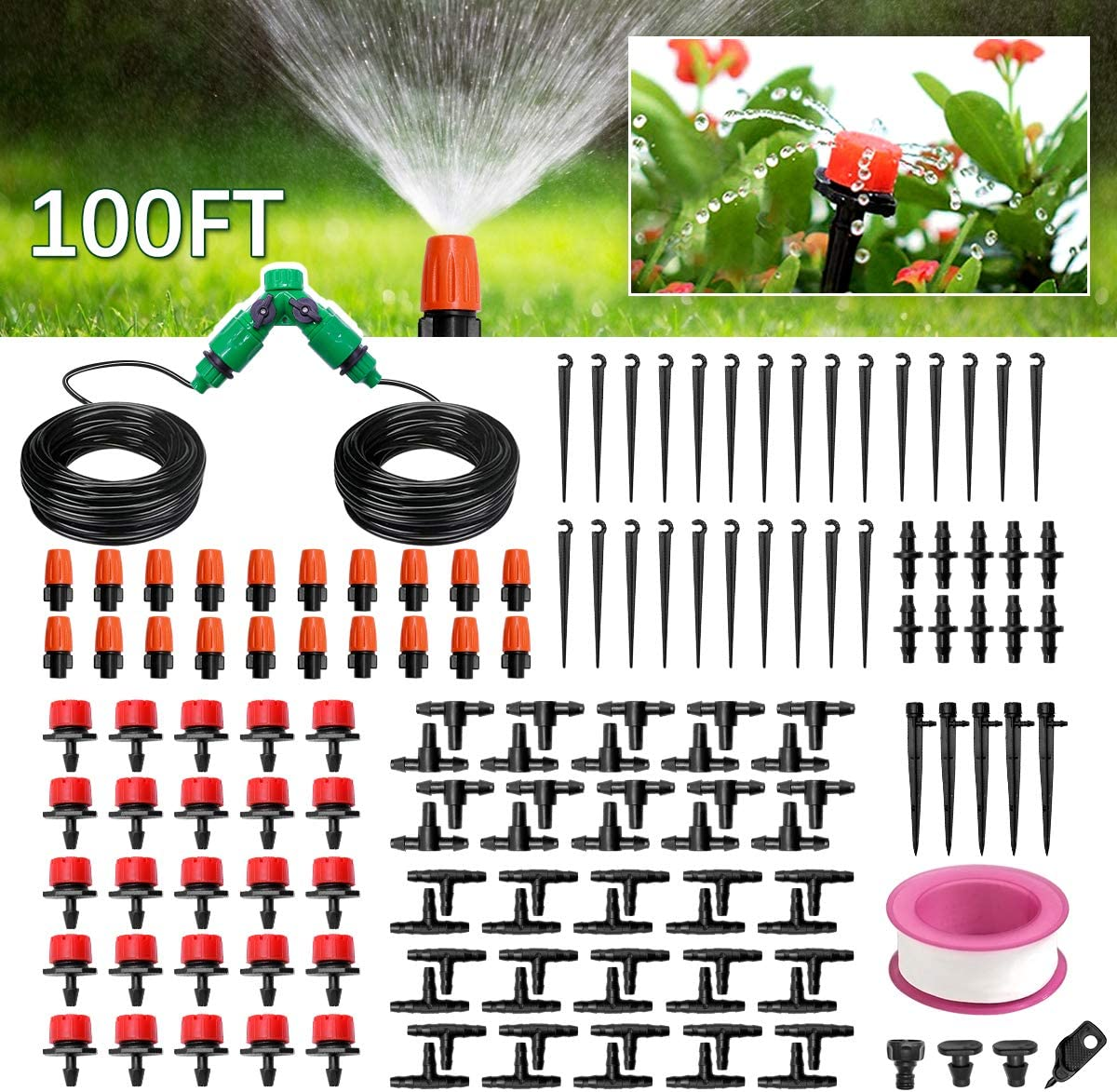 Garden Drip Irrigation Kit - 100ft/30m DIY Irrigation System with Adjustable Nozzle - Automatic Micro Irrigation Tubing Kits, Water-Saving Sprinkler System for Greenhouse, Raised Flower Bed, Patio