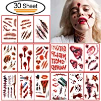 30 Stück Halloween Narben Temporäre Tattoos, Vibury Zombie Narben Tattoos Terror Wunde Aufkleber mit Gefälschte Schorf Blut, Make-Up Für Halloween Party Requisiten und Cosplay Aufkleber