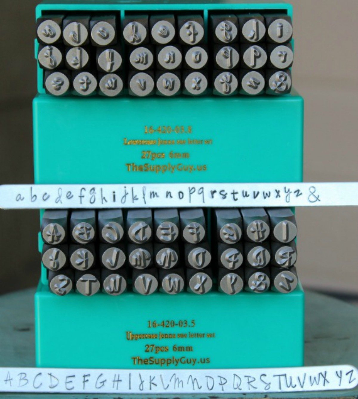 Supply Guy 6mm Jenna Sue Font Metal Stamp Letter Set, Available in Uppercase, Lowercase or Combination Set (UPPERCASE (SGCH-JSU3MM)) (COMBINATION (SGCH-JSUJSL6MM))