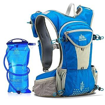 AONIJIE Mochila de hidratación 12 L Marathoner Running Race Hydration Chaleco Running Senderismo Mochila con Paquete de hidratación, Color Negro, ...