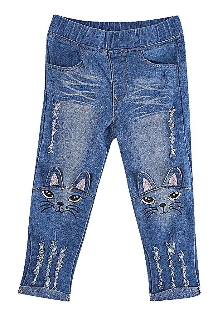 Sweety Girls Trendy Soft Cat Face Ears Appliques Tears Denim Skinny Jeans Girls/' Trendy Soft Cat Face Ears Appliques Tears Denim Skinny Jeans SWT1BGJ375