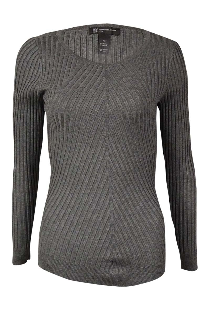 INC International Concepts Women's Ribbed Sweater Top (PL, Heather Grey)
