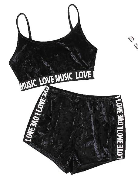 30364f336b19f4 Romwe Women s Sport 2 Pieces Spaghetti Strap Crop Tank Top and Shorts  Sweatsuits Set Black XS