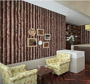 Wallpaper Quality PVC Retro Nostalgic Simple 3D Imitation Tree Decoration Living Room Restaurant TV Wall