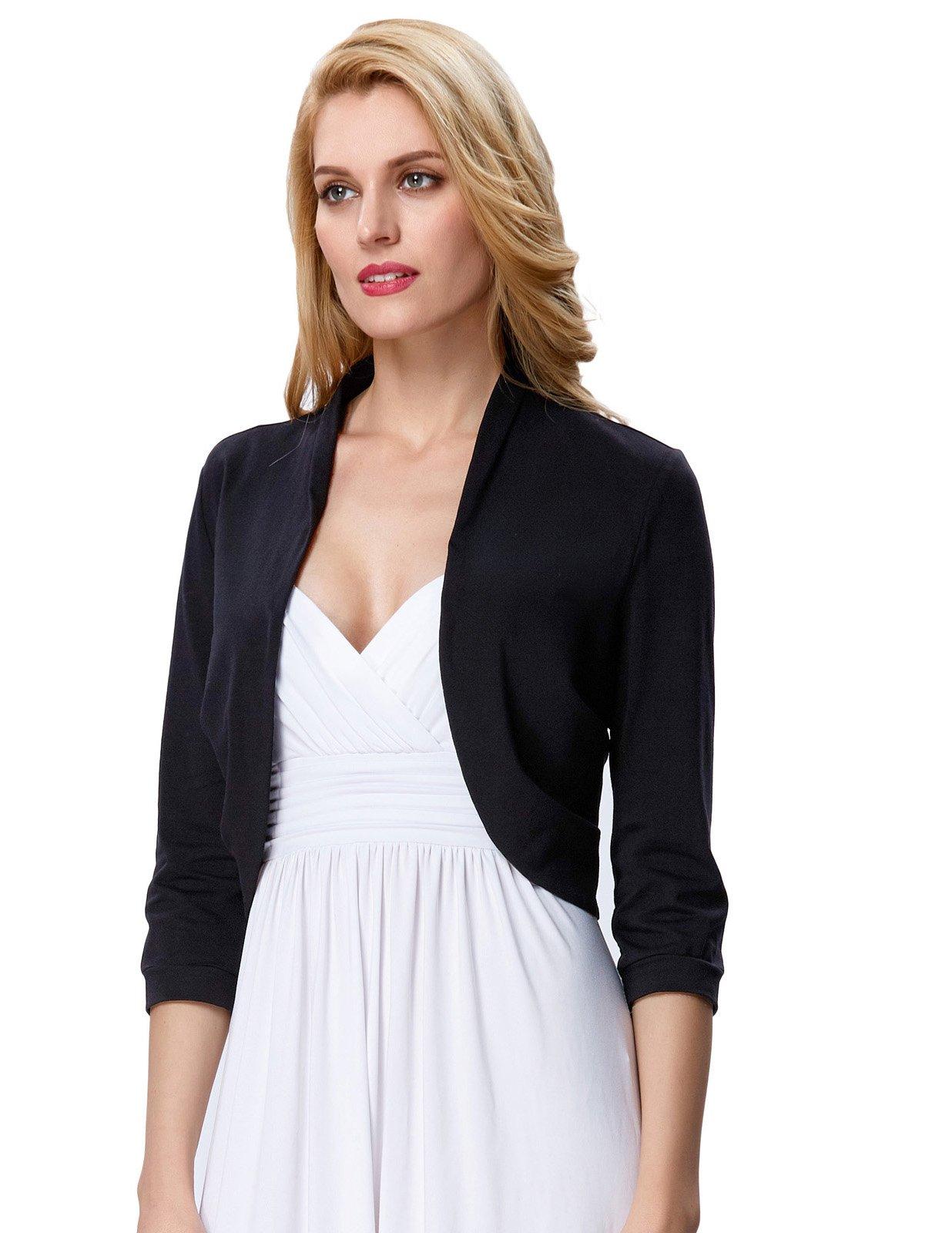 Spring Black Cropped Wedding Bolero Jacket Plain(XL, Black 512-1) by JS Fashion Vintage Dress (Image #5)