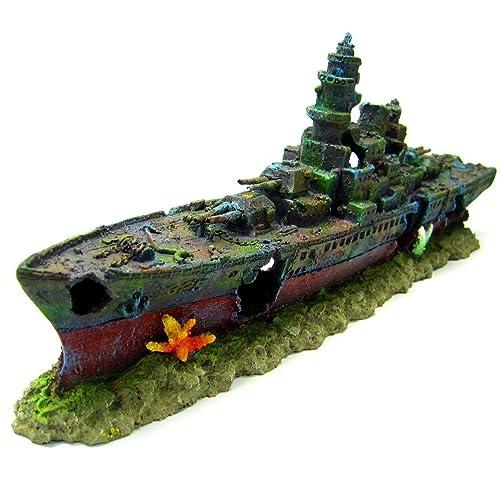Warship Cave Shipwreck 19.3 x 3.6 x 7.7 inch