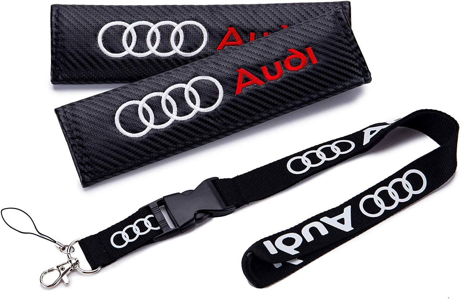 Red RV Style Keychain for AUDI Carbon Embroidery Seat Belt Cover Shoulder Pads