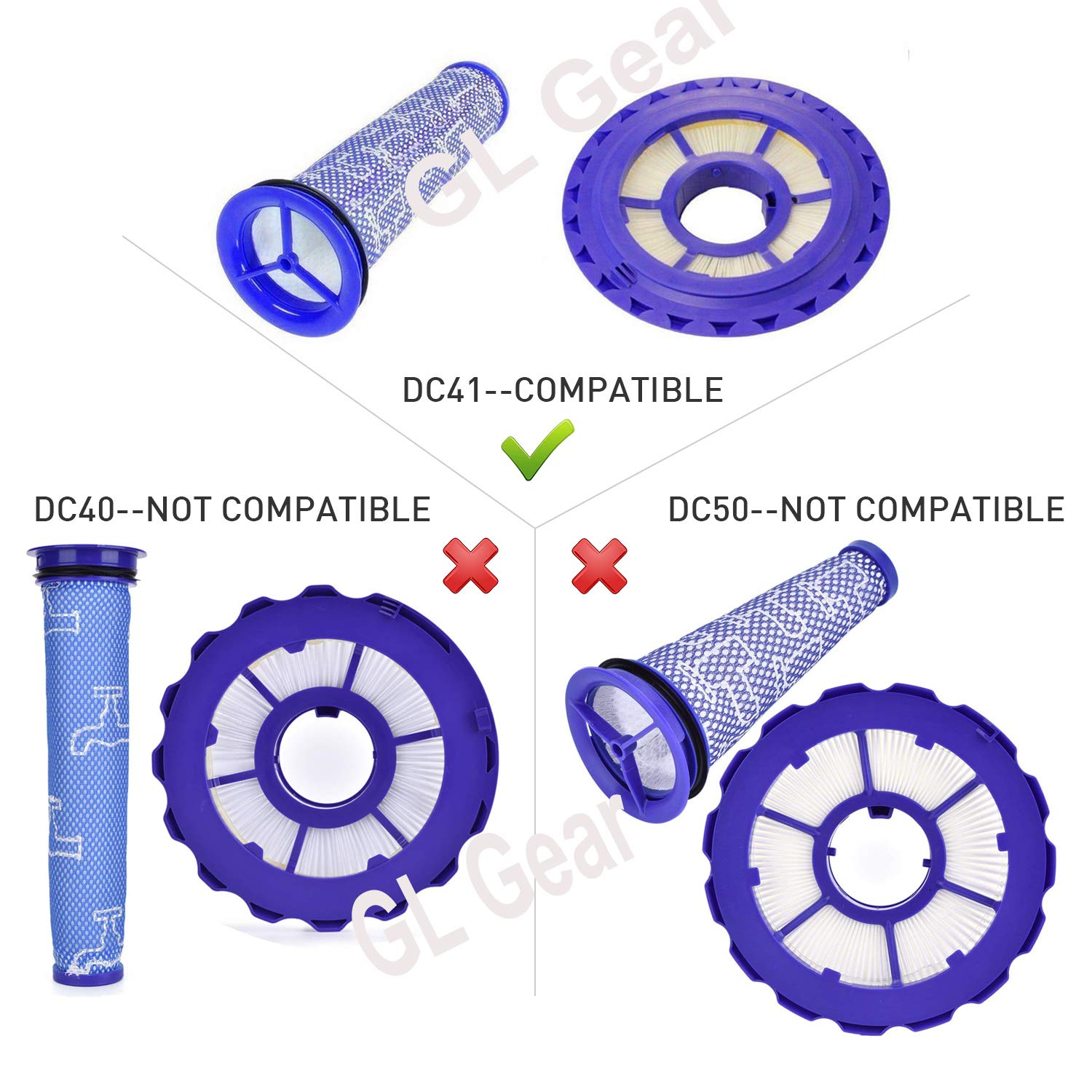 GL Gear Dyson DC41 Filter Replacement Parts # 920769-01 & 920640-01,Compatible HEPA Post Filter & Pre Filter Dyson DC65 DC66 Animal