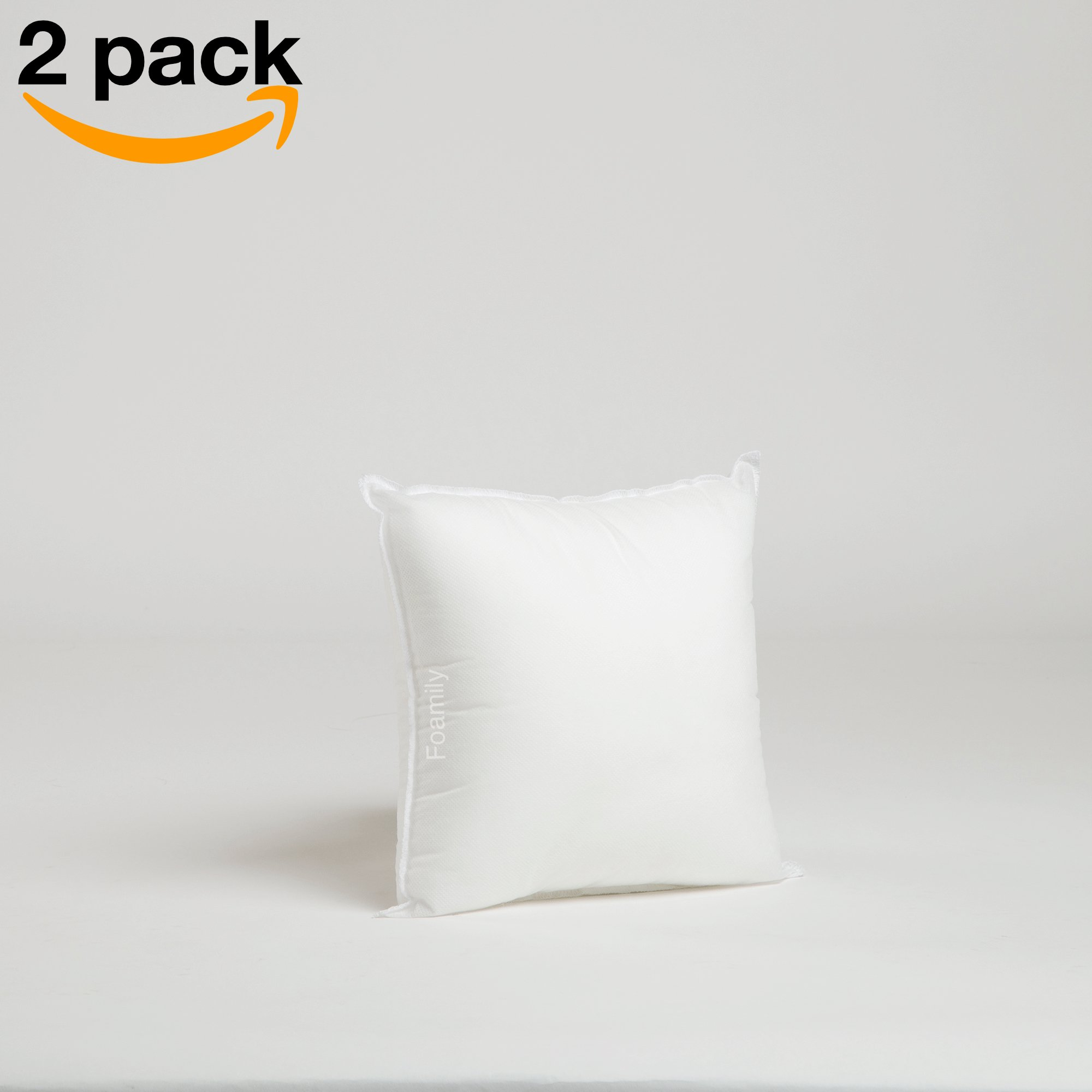 Set of 2-12 x 12 Premium Hypoallergenic Stuffer Pillow Insert Sham Square Form Polyester, Standard/White - MADE IN USA