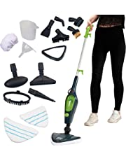 Easy Steam Multi Steam Mop, Power Hand Held 10 in 1 Cleaner for Hardwood Floors, Laminate, Carpets with 10 Attachments & 2 Microfibre Pads