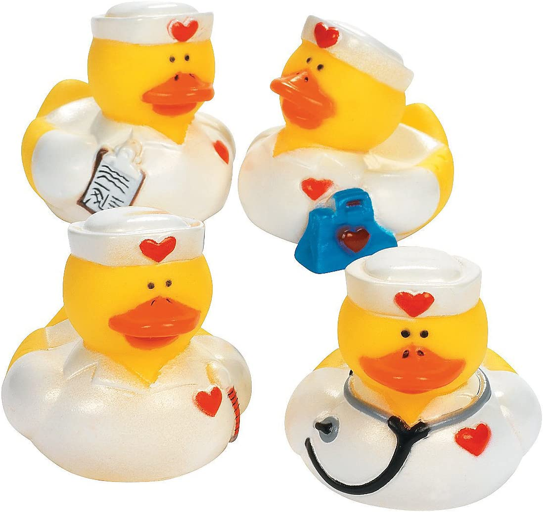 Fun Express Nurse Rubber Duckies (Set of 12) Great get Well Soon and Nurse Week Gifts