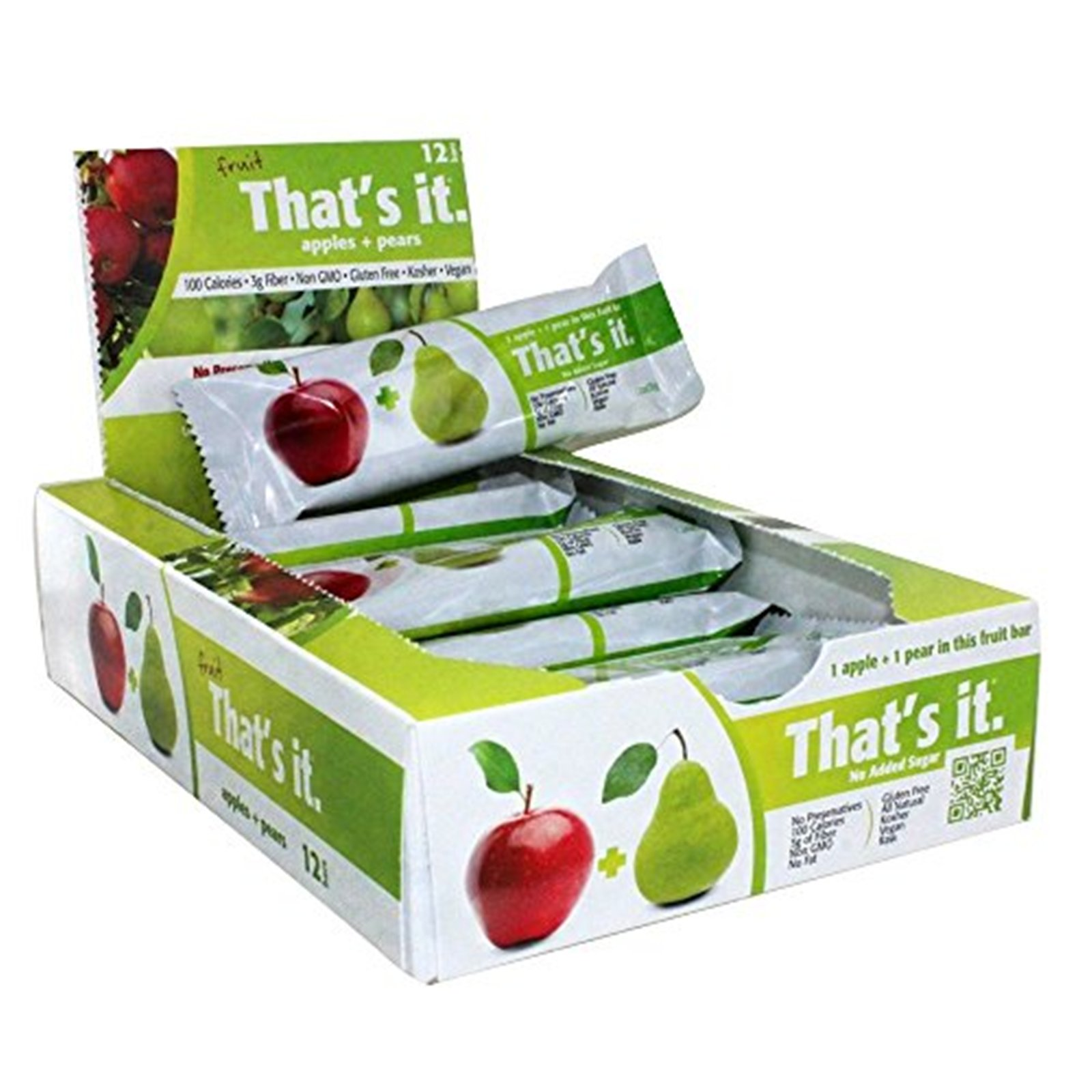 Apples + Pear Thats it. 100% Natural Real Fruit Bar, Best High Fiber Vegan, Gluten Free Healthy Snack, Paleo for Children & Adults, Non GMO Sugar-Free, No preservatives Energy Food, (12 Per Pack)