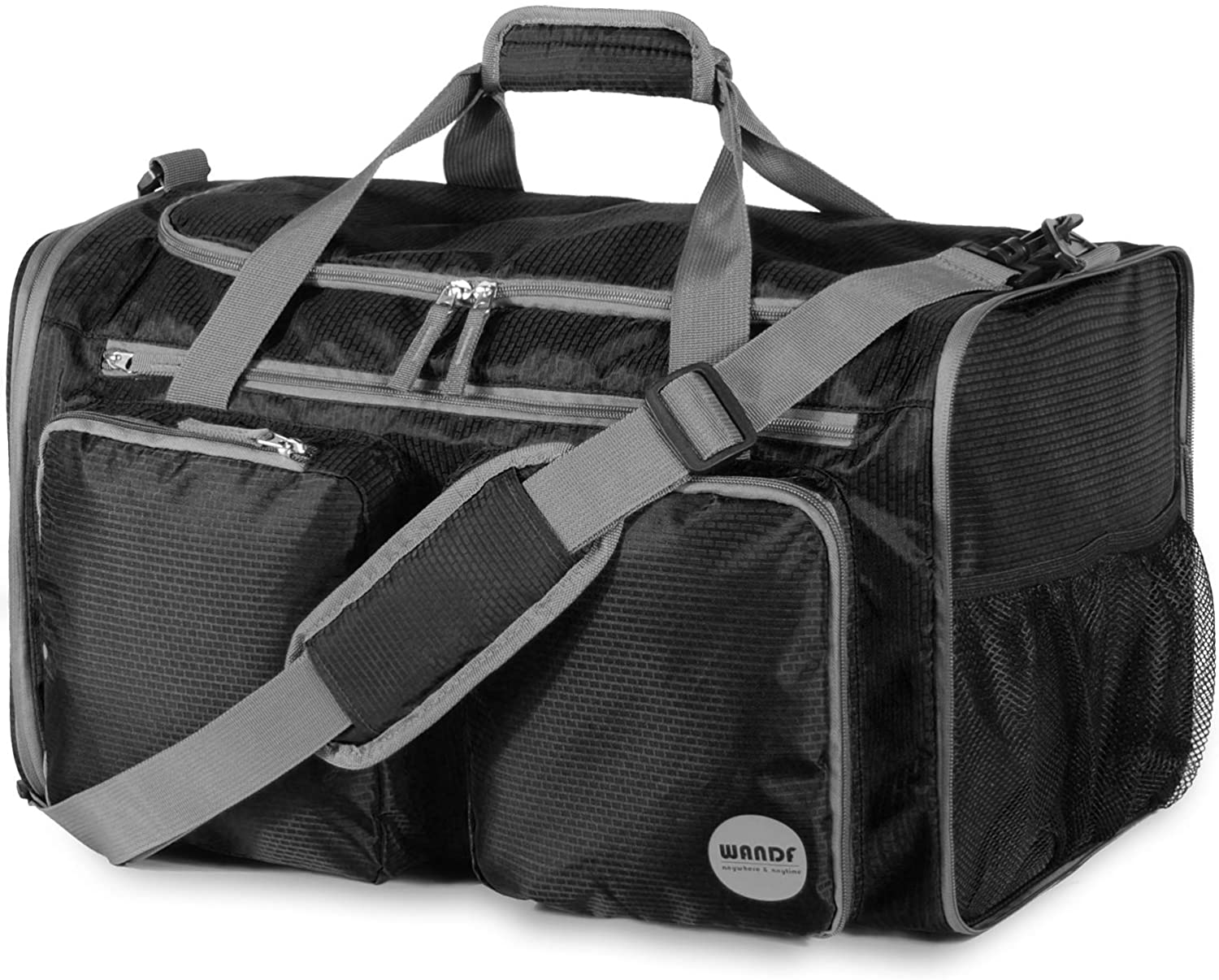 WANDF Foldable Sports Gym Bag with Wet Bag & Shoes Compartment, Travel Duffel for Men and Women