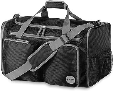 Canvas Travel Bag Travel Bag Travel Handbag Portable Travel Bag Large Capacity Short-Distance Waterproof Sports Gym Bag Nylon Duffel Bag Black