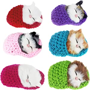 Coolayoung 6Pcs Sleeping Cat in Slipper Doll Toy, Mini Kitten in Shoe with Meows Sounds Decor Hand Toy Gift for Kids Boys Girls
