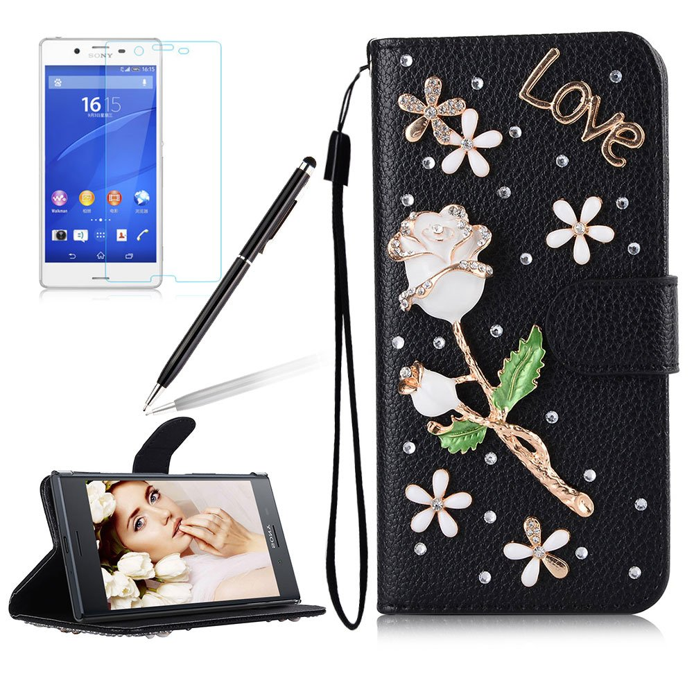 Girlyard For Sony Xperia XA1 Diamond Wallet Leather Case Cover Bling Glitter Crystal PU Leather Folio Flip Stand Protective Magnetic Case Cover with Wrist Strap and Card Slots Black Butterfly Flower