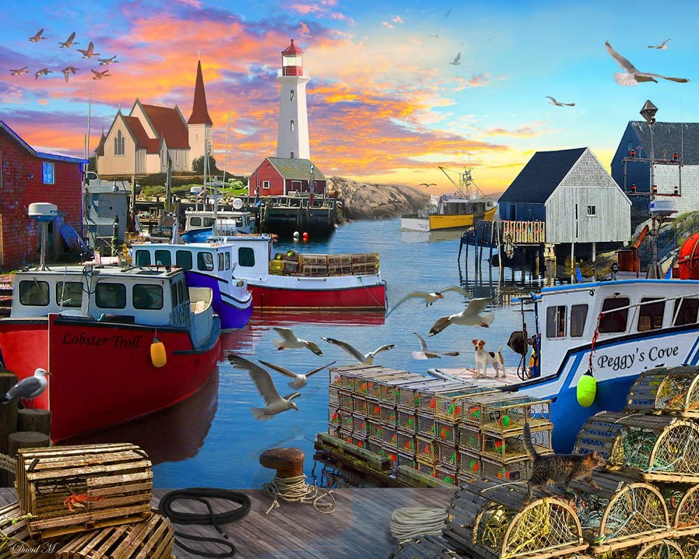 Vermont Christmas Company Fishing Cove Jigsaw Puzzle 1000 Piece