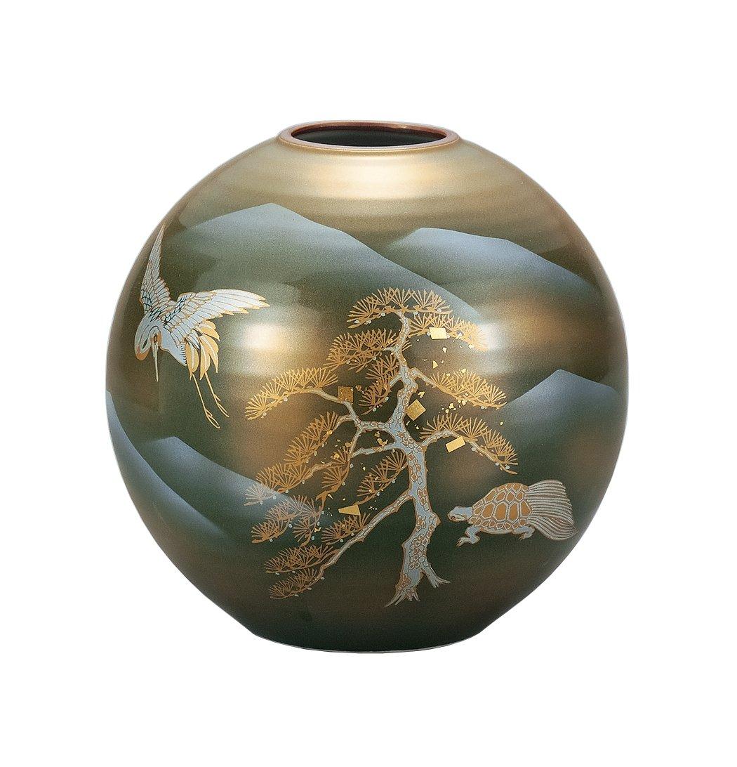 マルサン宮本 九谷焼 花器 7号花瓶 鶴亀 AP3-1042 B01HXQN6UY