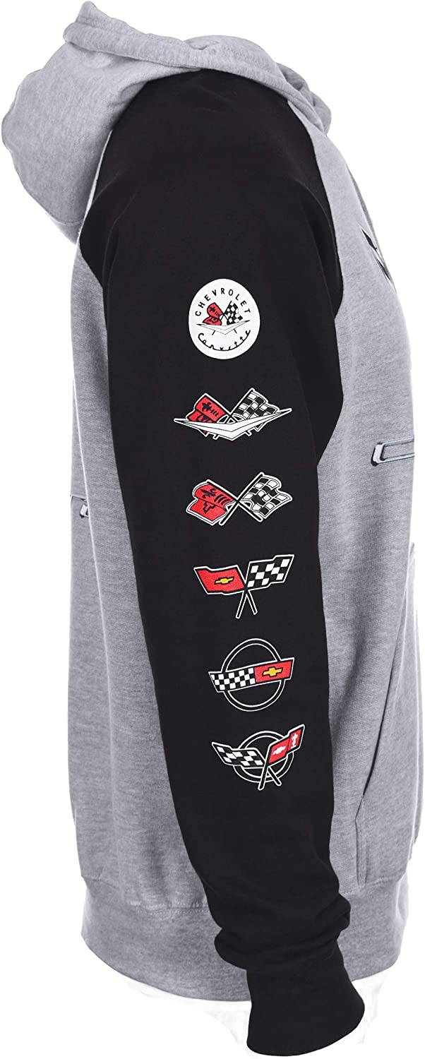 JH DESIGN GROUP Mens Chevy Corvette Gray /& Black Pullover Hoodie Front Back /& Sleeve Emblems