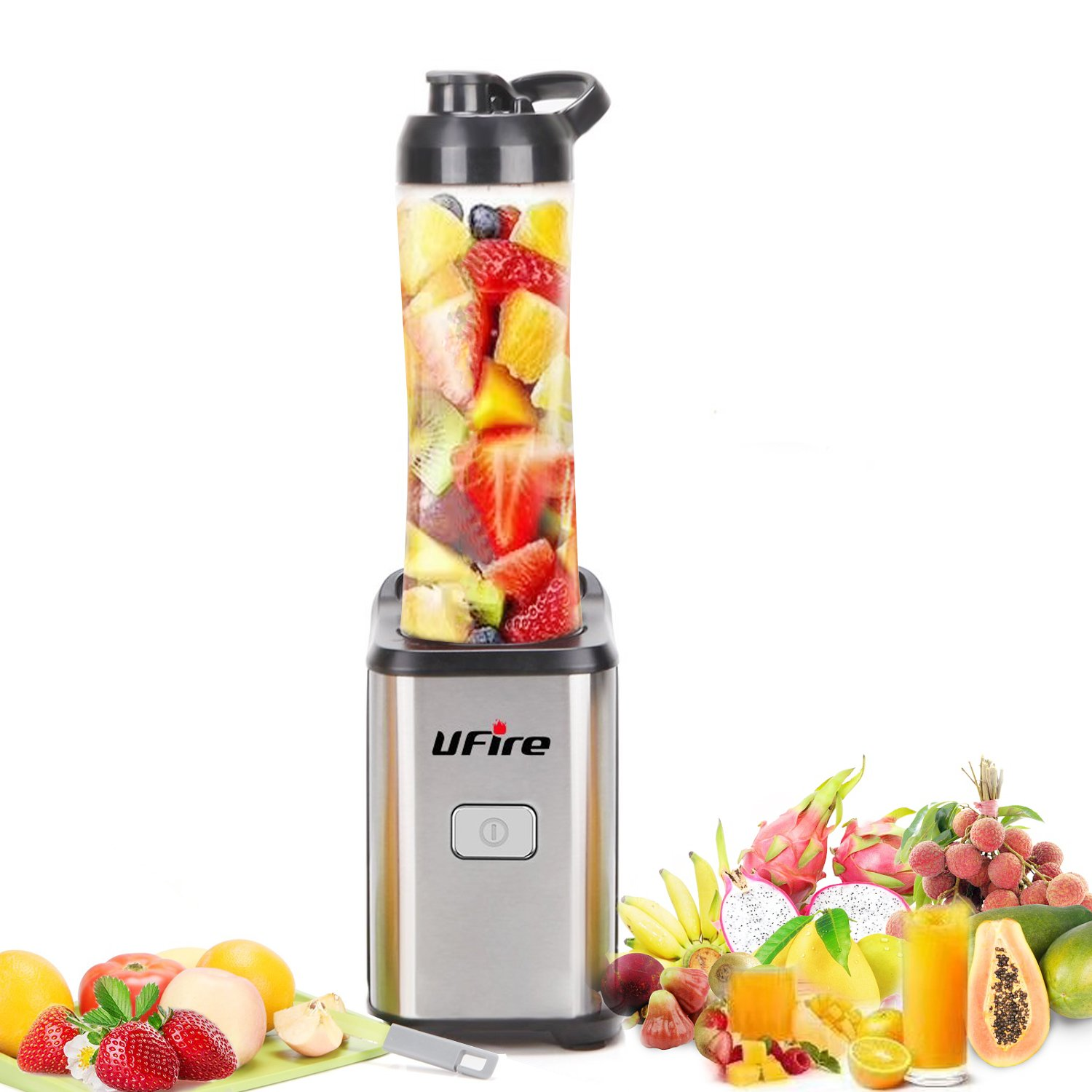 UFire Personal Blender, Single Serve, Stainless Steel Mini Blender with Travel Sports Bottle Lid, Smoothie Blender for Travel, 21 Ounce/ 350W/ Silver