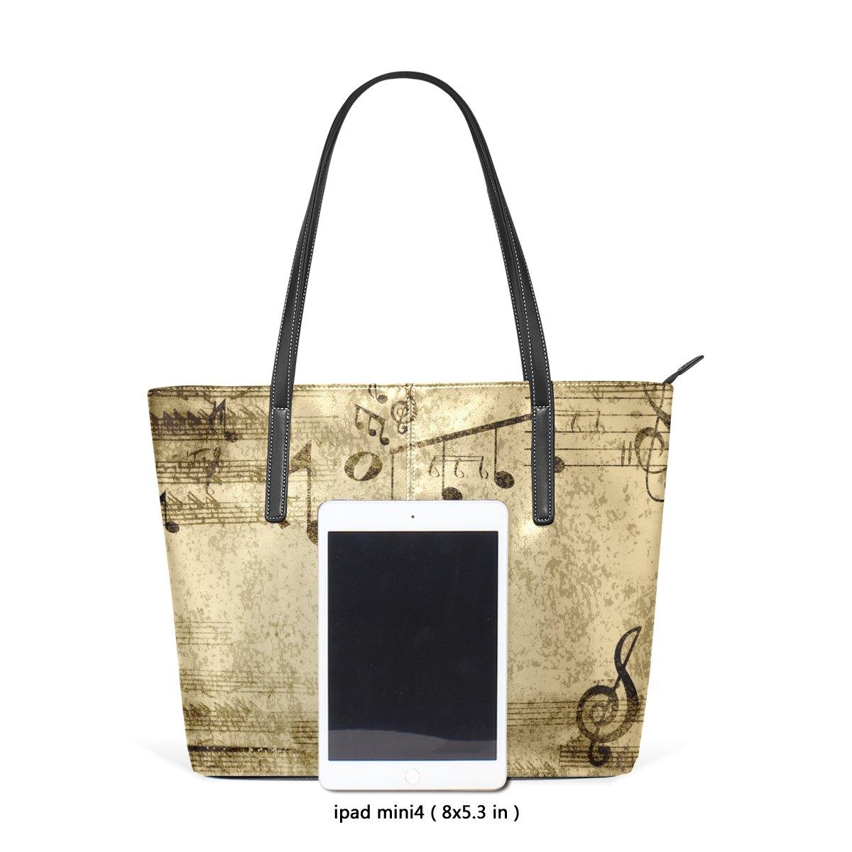 0c464efd9c75 DEYYA Music Notes Piano Women's Leather Tote Shoulder Bags Handbags ...