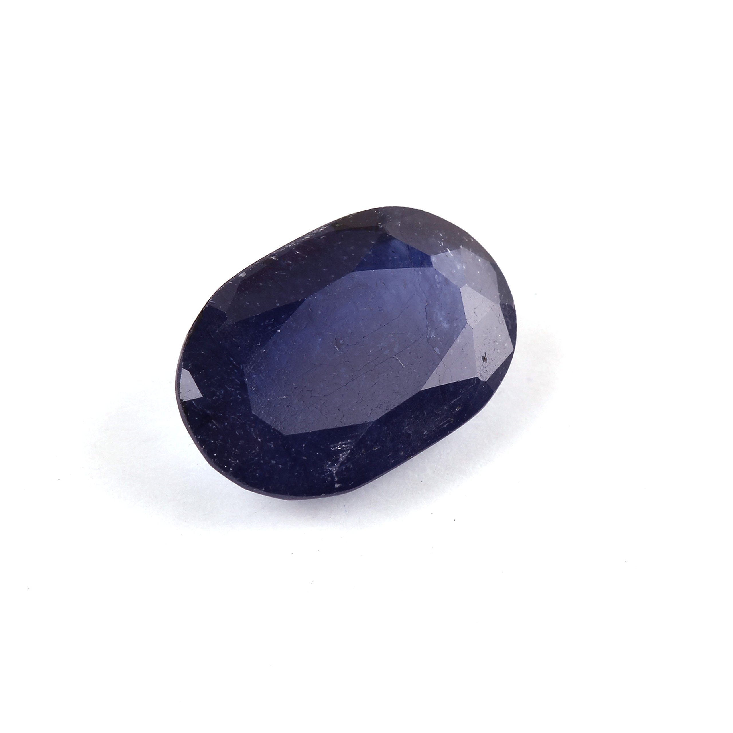 Neerupam collection Created/Treated Glass filled Blue sapphire 8.75 carat faceted oval Gemstone for jewelry making Astrological purpose